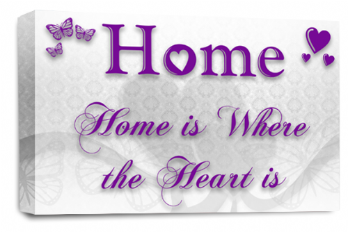 Home Quote Wall Art Picture White Purple Love Print